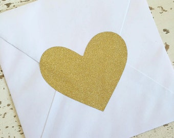Large Heart Stickers Pk10 Glitter Gold 9cm