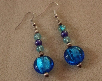 Blue Glass Beaded Drop Earrings
