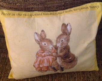 Peter Rabbit and Benjamin Bunny with Red Spotted Handkerchief Pillow