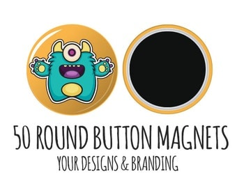 Personalized Magnets- 50 Logo Magnets, Button Magnets, Custom Magnets, Favor Magnets, Save the Date, round magnets, fridge magnets, bulk