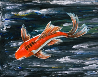 Butterfly Koi carp Original painting
