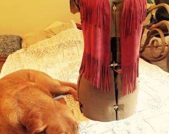 Maroon Raspberry Red Suede Fringe Vest Western Wear