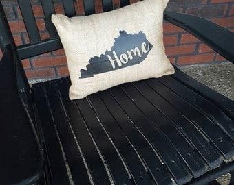 Burlap 'Home' pillow