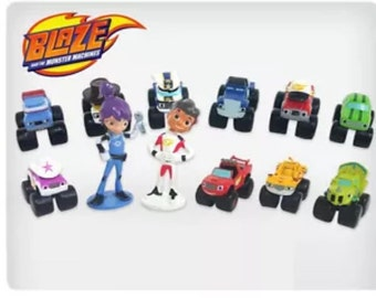 Mister A Gift Nick Jr Blaze And The Monster Machines set of 12 plastic Cake Toppers