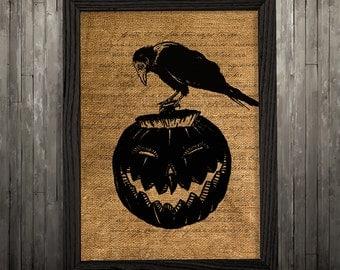 Raven poster Crow print Bird art Burlap print BLP159