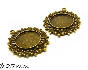 Cabochon versions / Medallion 25 mm, antique bronze