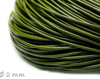5 m leather strap olive green, Ø 2 mm
