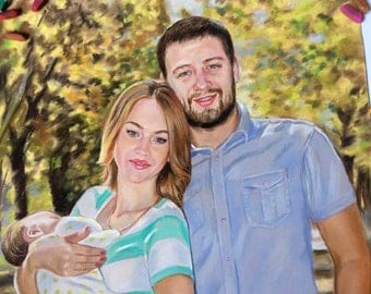 Family portrait Custom painting painted realism family kids portrait painting from photo custom wedding portrait Two people commissioning