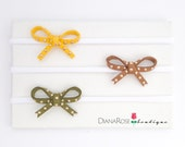 Faux Leather mini knot Headband set. Mini leather bows. Leather stud headband set