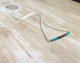 Dainty Necklace, Modern Necklace, Chain, Simple Necklace, Long Bar Necklace, Modern Necklace, Pyrite Necklace, Tourquoise necklace