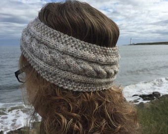 Neutral Hand Knitted Headband,Ear Warmer,Cable Pattern,Handmade,Hand Knitted,Knitted Headband,Great Gift