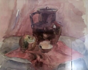 Watercolour still life with apples