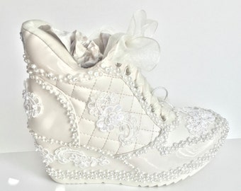ivory wedding shoes sneakers wedge heeled bridal tennis shoes in ivory champagne