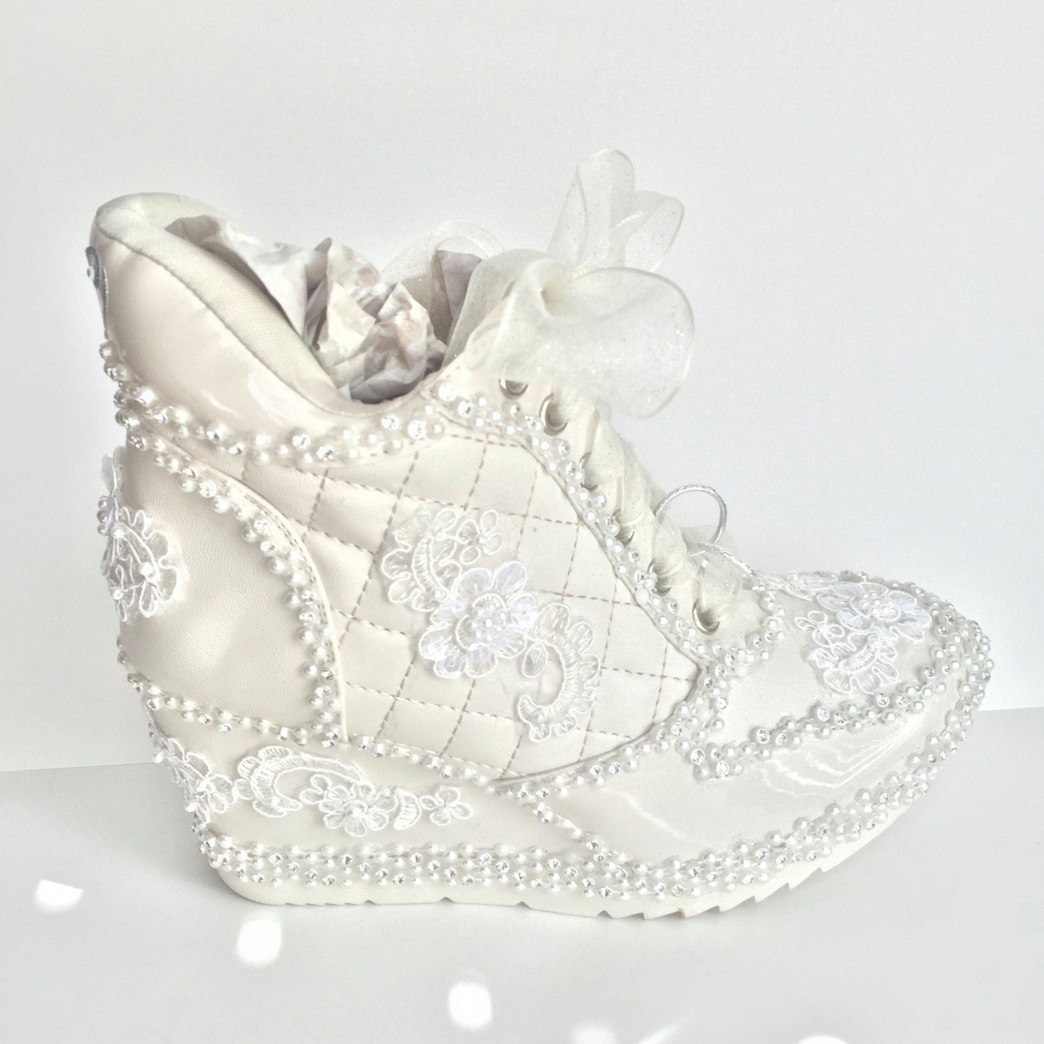 Ivory Wedding Shoes Sneakers Wedge Heeled Bridal Tennis In Champagne