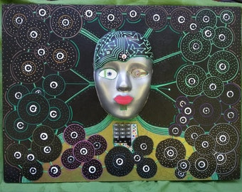 Original 3D wall art, Sci Fi wall art, Sci Fi mask, Lovely handmade, Original wall decor, Unusual unique, Birthday handmade, Decorative mask