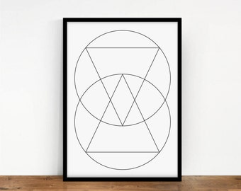 Circles Geometric Poster, Geometric Print, Digital Wall Art, Circles Print, Geometric Lines Wall Decor, Circles Wall Print, Printable Art