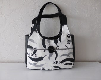 Handbag novelty print fabrics in black and white
