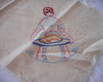 Thanksgiving Vintage Embroidery Cloth to Finish