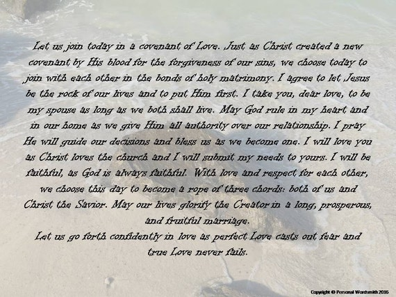 Christian Marriage Vows Digital Print Downloadable Covenant