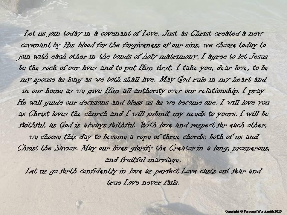 Covenant Wedding Vows Digital Download Printable Christian