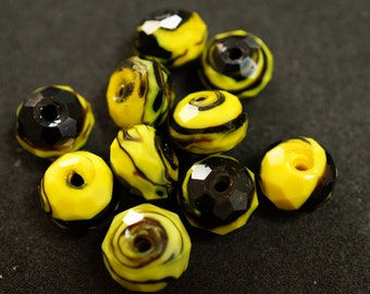 1 yellow and black FACETED glass BEAD