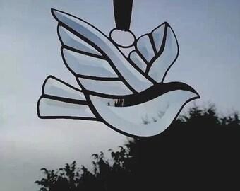 Hand made Bevelled Glass Suncatcher Decoration - Dove