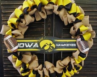 Iowa Hawkeyes Burlap Wreath
