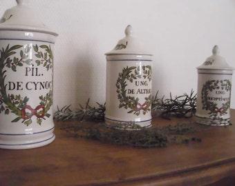 Lot of three apothecary jars