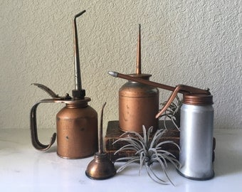 Vintage Collection of Metal Oil Cans, copper toned,  instant collection, steampunk