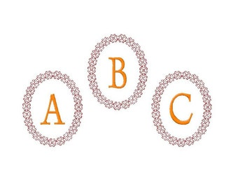 Machine embroidery monogram fonts frame alphabet