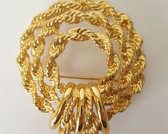 Vintage Monet gold brooch, braided triple wreath pin, signed