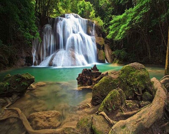 Canvas Wall Mural DIY Forest Waterfall Peacefull Nature Custom Sizes Make Your Wall Beautiful Decorative