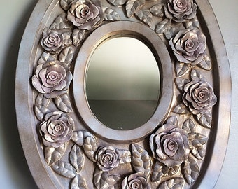 Lovely Vintage Mirror With Rose Design