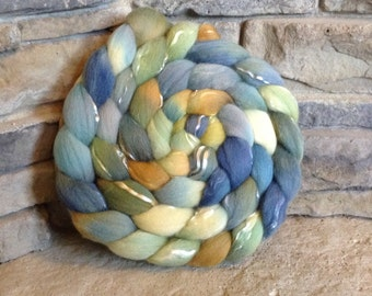 Merino/Tencel Combed Top Spinning Fiber 70/30 - 23 micron - Hand Painted - approx. 4 ounces - APPLE BLOSSOM