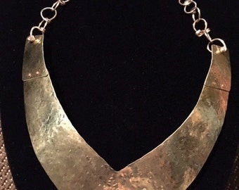 "Bib ""V"" Brass Necklace Riveted & Adjustable Metal, Collar, Hammered, Jewelry, www.MetalWorksJewelryToday.com"