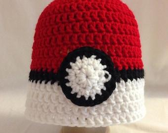 Crochet Child/Youth Pokeball Hat Beanie