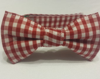 SALE  Boys Red and White Plaid Bowtie