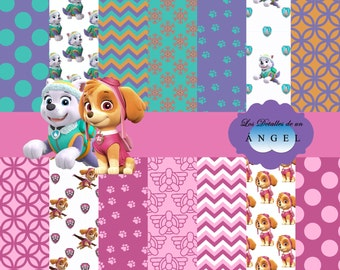 Digital papers of Skye and Everest of the canine patrol Kit / Kit digital papers Skye and Everest Paw Patrol