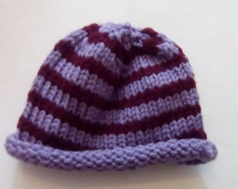 Purple and Burgundy 18 in doll hat