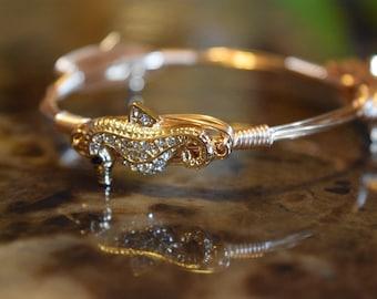 Gold Seahorse Bangle