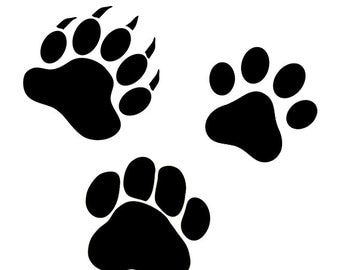 Bear paw svg, Dog paw and cat paw svg files - paw digital download - paw clipart svg, dxf, eps, png