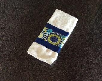 Blue on White Cotton Hand Towel