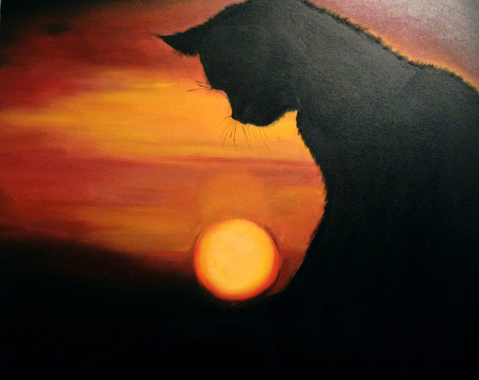 Unique landscape cat- Where does the Sun-Oil Painting-size 24*20 (60*50 cm)- Black cat at sunset- Wall, interior decor- gift idea
