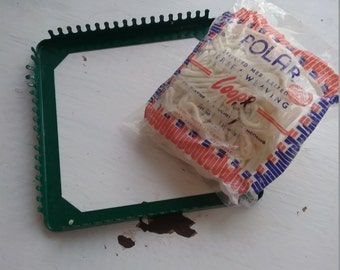 """Vintage Potholder Loom, With one bag Loops, Green Metal Loom, White """"Aged"""" Mercerized Cotton loops by Polar"""
