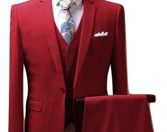 Red Custom Fitted Suit/ Red 3 Piece Suit/ Men's Suit/ Tailored Suit