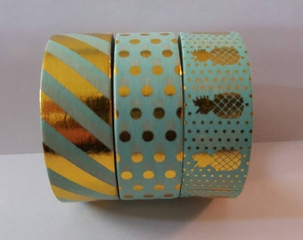 30 INCH Sample Set!! Blue Gold Foil Washi Sample Set- Stripe, Polka Dot, Pinaples. Perfect for Planners & Most Scrapbooking Needs!