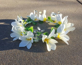 Frangipani and jewels flowergirl headpiece