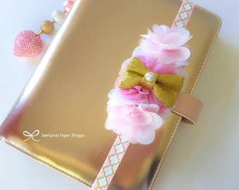Pink and gold delixe planner band, planner elastic, planner accessories,headband, baby headband
