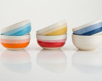 ceramic bowl, ceramic bowl for coffee, tea, cereal, pottery bowl, white glaze and bright colors, hand made