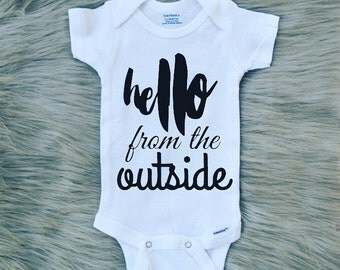 Hello From The Outside Onesie, Bodysuit, Infant/Toddler Apparel